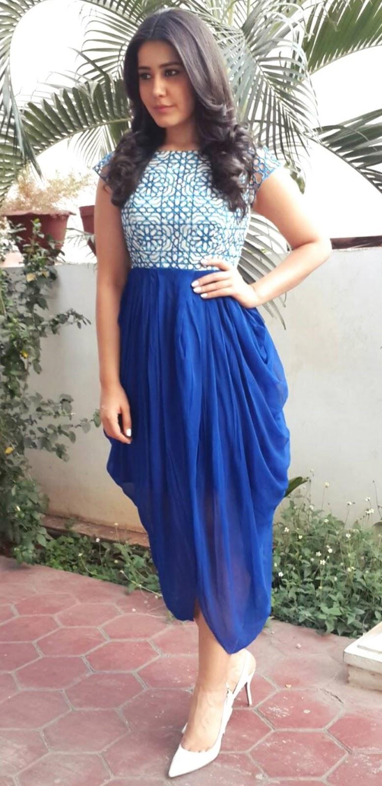Spicy Photoshoot Of Rashi Khanna In Blue Dress