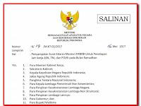 SURAT EDARAN DARI MENPAN-RB NOMOR 20 TAHUN 2017 TENTANG PENETAPAN JAM KERJA ASN, TNI, DAN POLRI PADA BULAN RAMADHAN