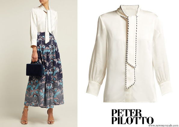 Crown Princess Victoria wore PETER PILOTTO Satin Neck Tie Blouse