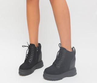 Pantofi sport de iarna cu platforma si talpa groasa negri piele intoarsa