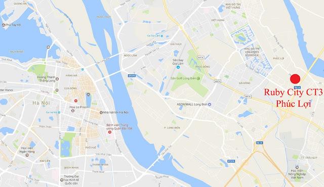 Vị trí dự án Ruby City Ct3 Long Biên