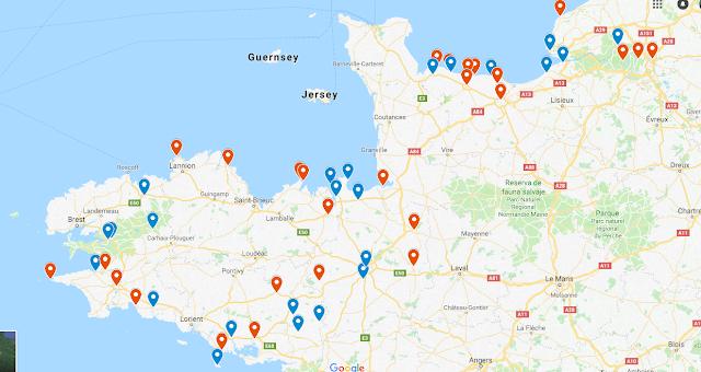 Bretaña Y Normandia Mapa.Detintasuelta Normandia Y Bretana Francesa