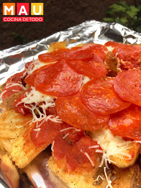 papas a la francesa al horno pizza con salsa de pizza