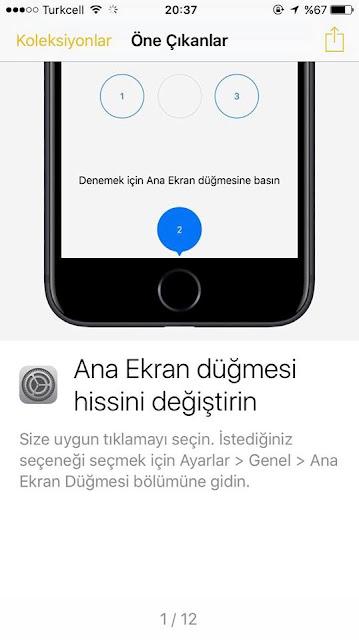 iPhone 7 Home tuşunu hassaslığını ayarlayabilirsiniz