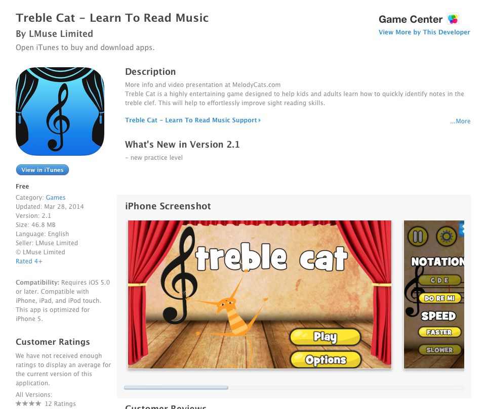 UCET Free iOS App Today: Treble Cat - Learn To Read Music - UCET