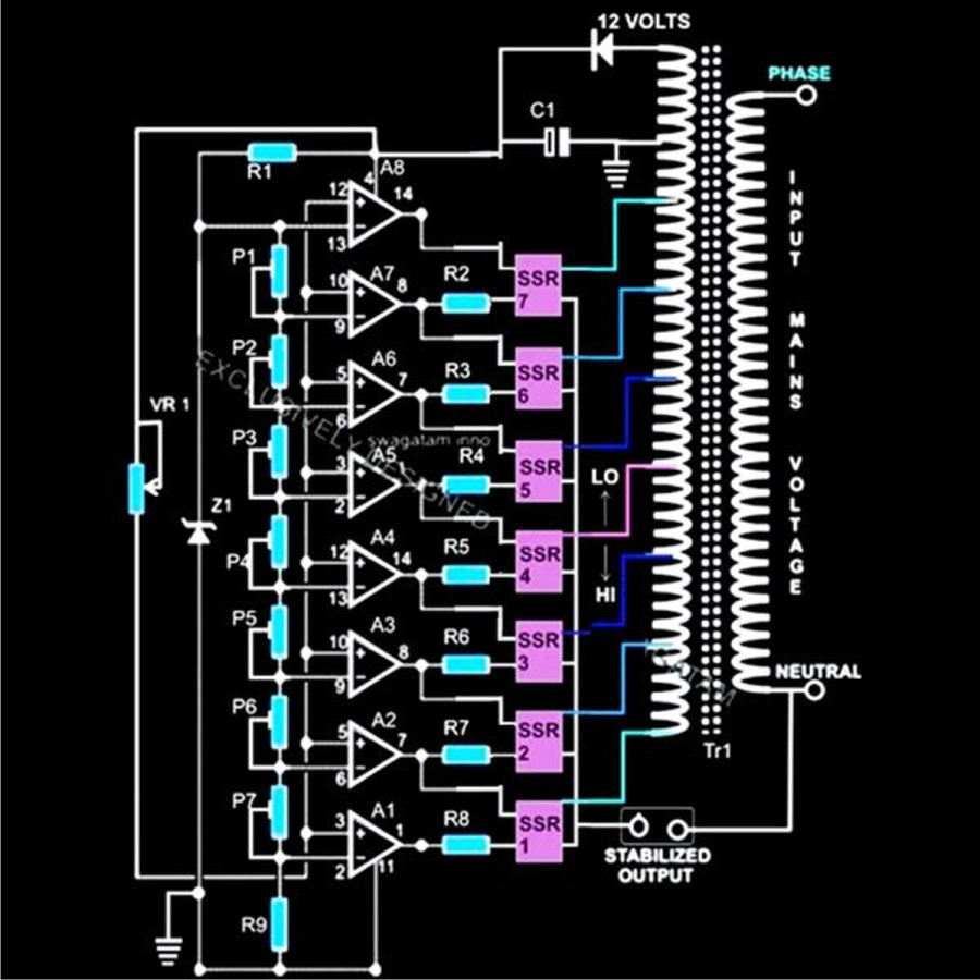 5 KVA to 10 KVA Automatic Voltage Stabilizer Circuit