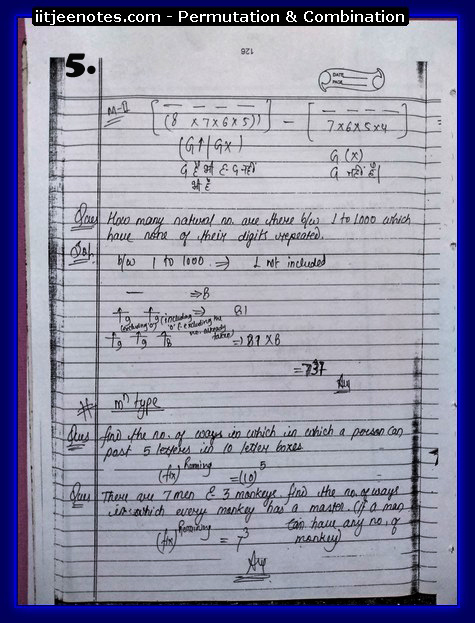IITJEE Notes on Permutation & Combination5