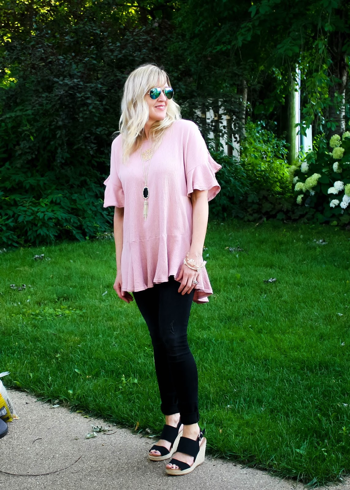 Blush Ruffle Top + Black Jeans