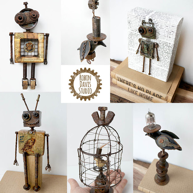 Robots and Assemblage Birds by Robin Davis Studio