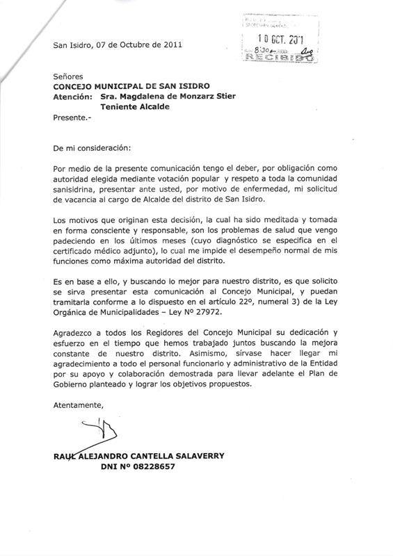 Carta De Renuncia Por Salud Peru About Quotes G