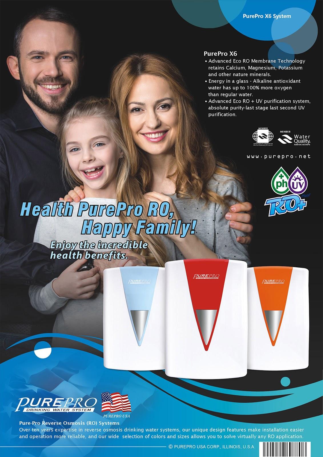 全新配備具礦物保護技術的新一代逆滲透膜:  美國PurePro® X6 紫外線鹼性RO活水機