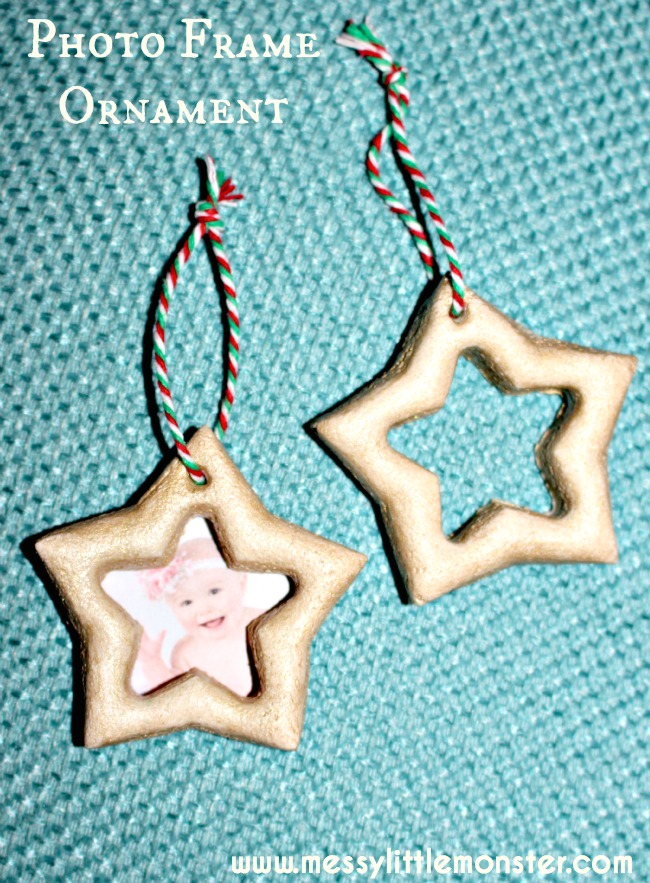 Simple salt dough Christmas craft.  Star photo frame ornament suitable for toddlers, preschoolers and older kids. Inspired by the book How to Catch a Star.