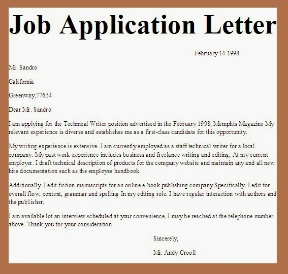 Example Of Job Vacancy Curriculum Vitae And Application Letter