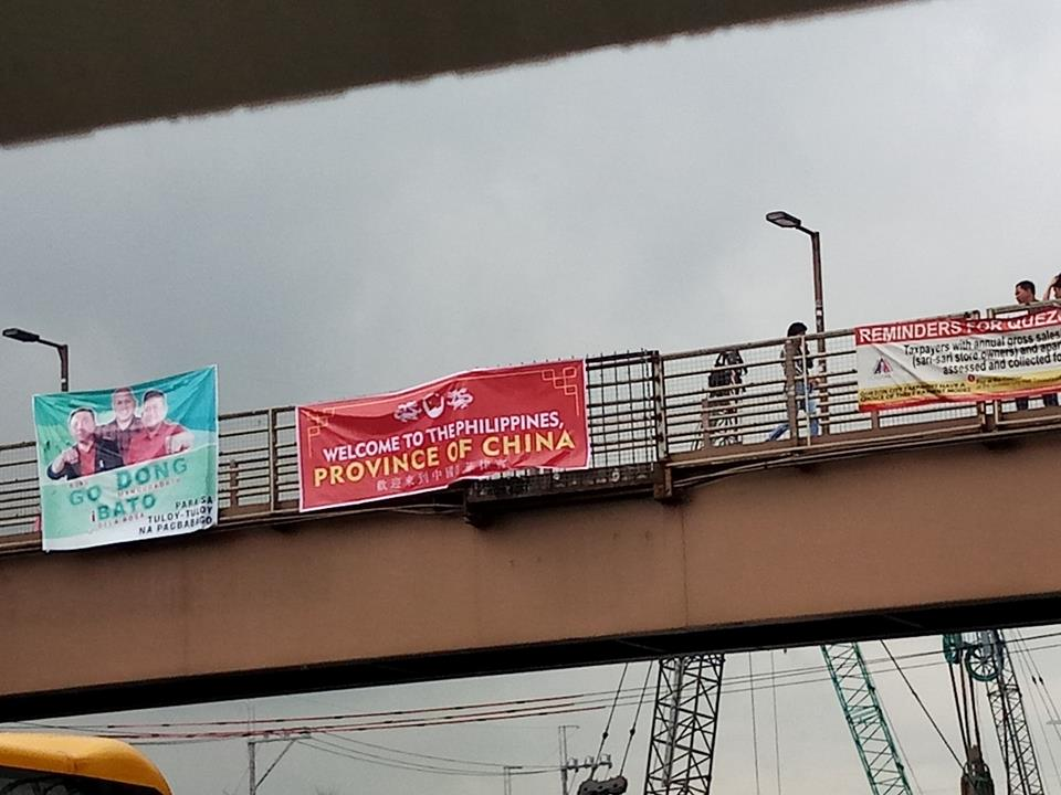 "Palace reacts on ""Philippines, Province of China"" banners hung on several footbridges"