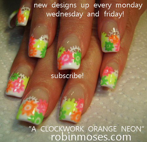 Jersylicious Nail Art PINK AND BLACK NAIL Design A Clockwork Orange NEON Rainbow Tutorials Up For Friday