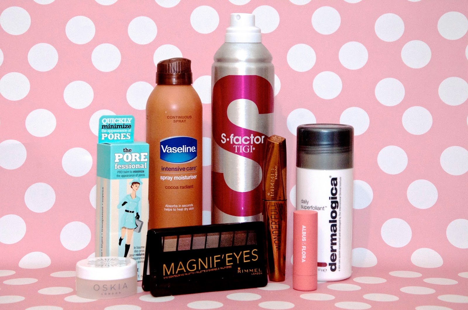 lipstick, hairspray, skincare and makeup