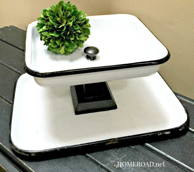 Tiered Trays from vintage enamelware