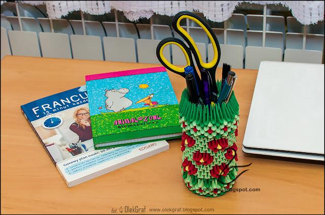 476. Kwiatowy organizer z origami / 3d origami flower pen holder