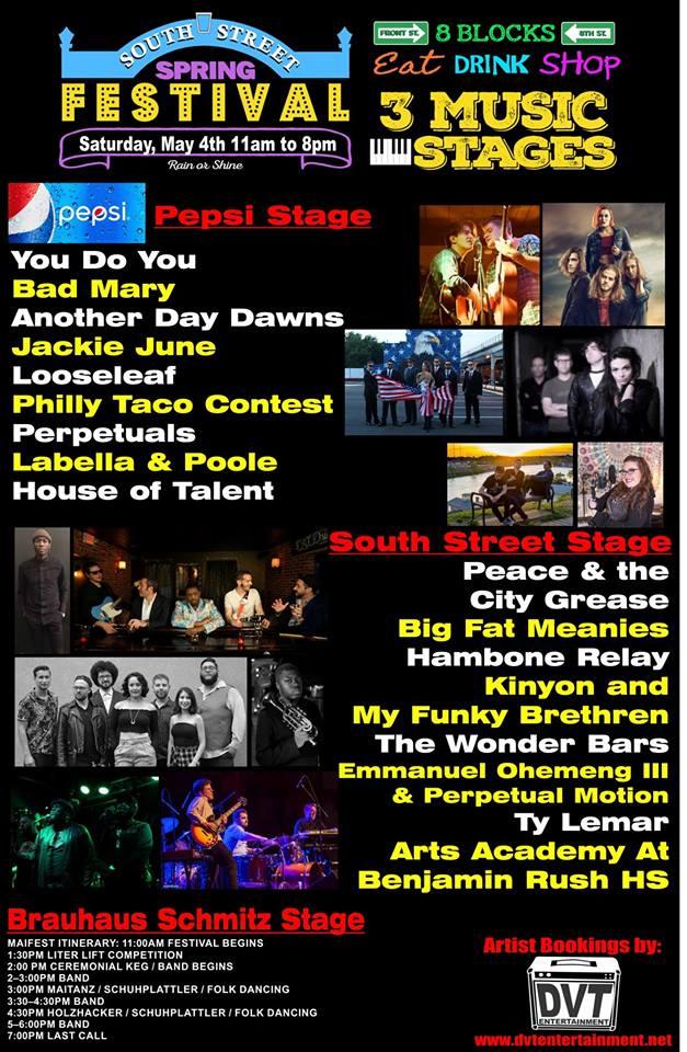 DVT Entertainment Music News: 2019 South Street Spring Fest