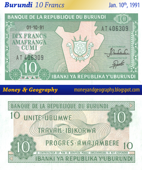Burundi 10 Francs banknote from 1991