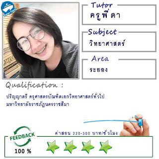 สอนคณิตศาสตร์ วิทยาศาสตร์โดยครูพี่ดา ( ID:12302 ) @อ.ปลวกแดง อ.บ่อวิน