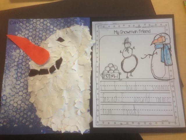 snowman craft with bubble wrap