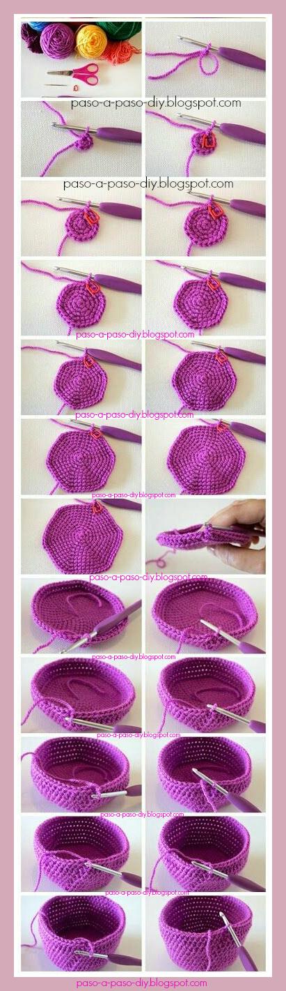 cómo tejer una canasta al crochet