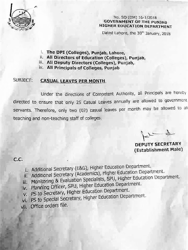 NOTIFICATION REGARDING CASUAL LEAVES PER MONTH BY HIGHER EDUCATION DEPARTMENT