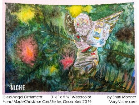 Watercolor Painting of a Glass Angel Christmas Tree Ornament by Shari Monner, VaryNiche.com