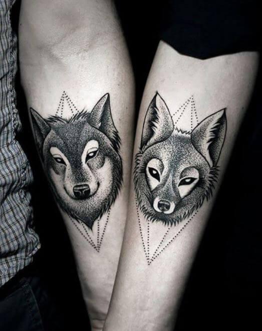 wolf Couple Tattoos