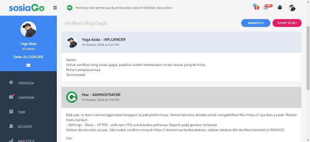 Kirim ticket verifikasi blog gagal di Sosiago