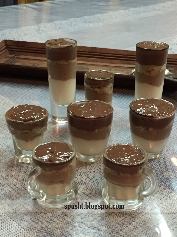 Vanilla and Chocolate Eggless Layered Pudding