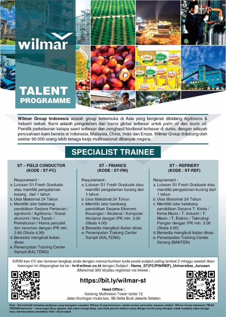 Lowongan Kerja Specialist Trainee Wilmar Group Indonesia