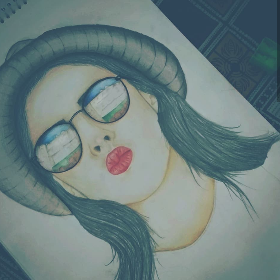 Pout girl pencil art color pencil art
