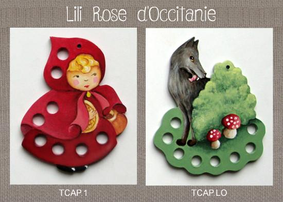 """2 tri-fils en bois peint """"Chaperon Rouge"""" + """"Loup"""". Broderie et point de croix"""