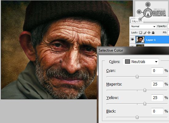 image adjustment selective color - tutorial cara membuat efek smudge painting di photoshop