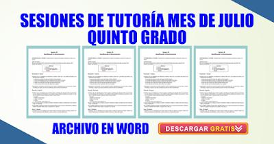 SESIONES DE TUTORÍA MES DE JULIO QUINTO GRADO