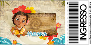 Moana Baby Free Printable Ticket Invitation.