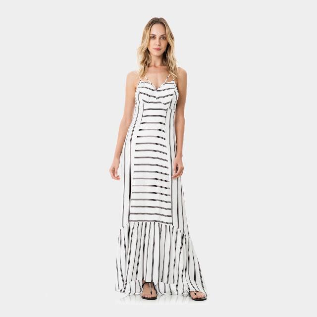 Moda Vestido com Alças Longo Tecido Puna