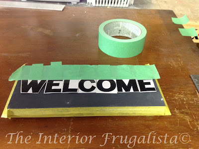 Salvaged Newel Post Outdoor Welcome Reverse Stencil 2