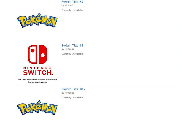 Jogos de Pokémon sem nome registrados para o Switch