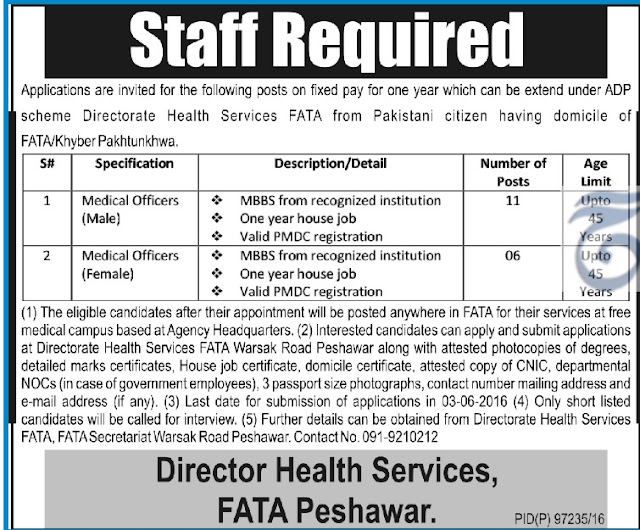 MBBS Doctors Jobs in Peshawar as MO and WMO