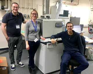 From L-R: Chris Brodie (Thermo Scientific), Angela Lamb and Andi Smith at the new IsoLink.