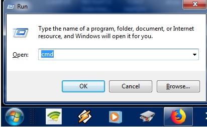 tekan tombol gambar windows + R pada keyboard Anda, kemudian ketik CMD, lalu tekan enter agar jendela CMD terbuka