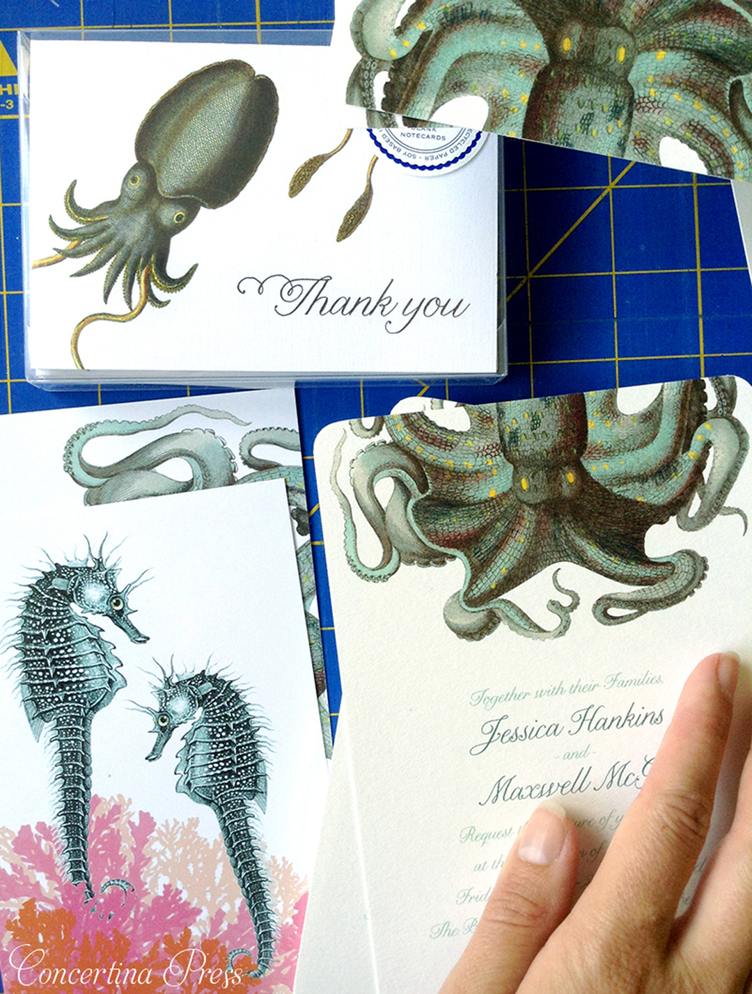 Octopus Wedding Invitation Set - wedding ceremony and reception in an aquarium
