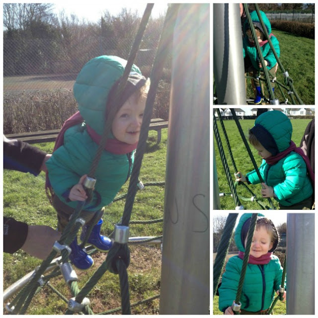 Four pictures of a toddler on a climbing frame. Lots of smiles