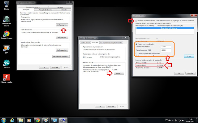 ajustando a memória virtual no windows