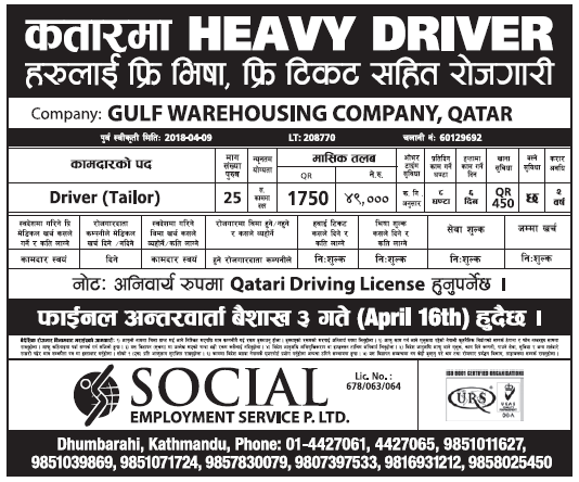 Jobs in Qatar for Nepali, Salary Rs 49,000