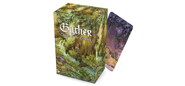a box and individual card with the text Gather: Children of the Evertree on it, fully illustrated.