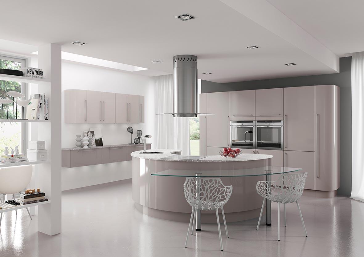 Cozinha com bancadas branca em corian e bancada de refeição em  #5F715A 1181 835
